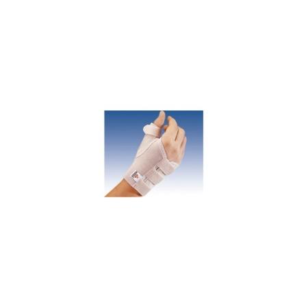 Muñequera elástica de pulgar abierta corta con férula para la mano derecha