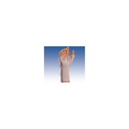Muñequera elástica abierta larga con férula palmar y pulgar para la mano izquierda