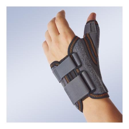 Muñequera semirrígida inmovilizadora corta con ferula de pulgar para la mano izquierda