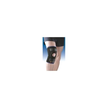 Rodillera tricapa transpirable con rotula abierta, apoyo rotuliano, estabilizadores laterales y cinchas de ajuste
