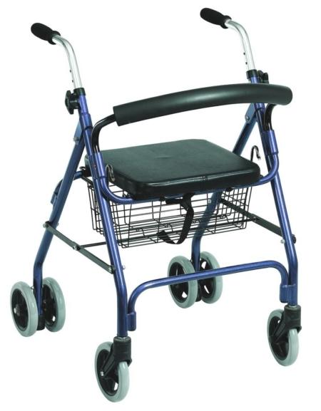 Andador 4 ruedas freno por presión (aluminio)