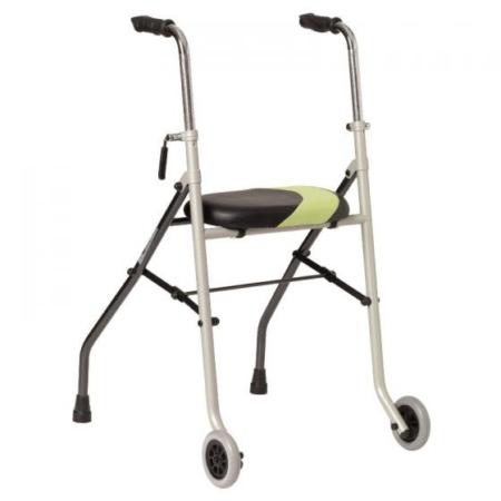 Andador 2 ruedas acero y asiento
